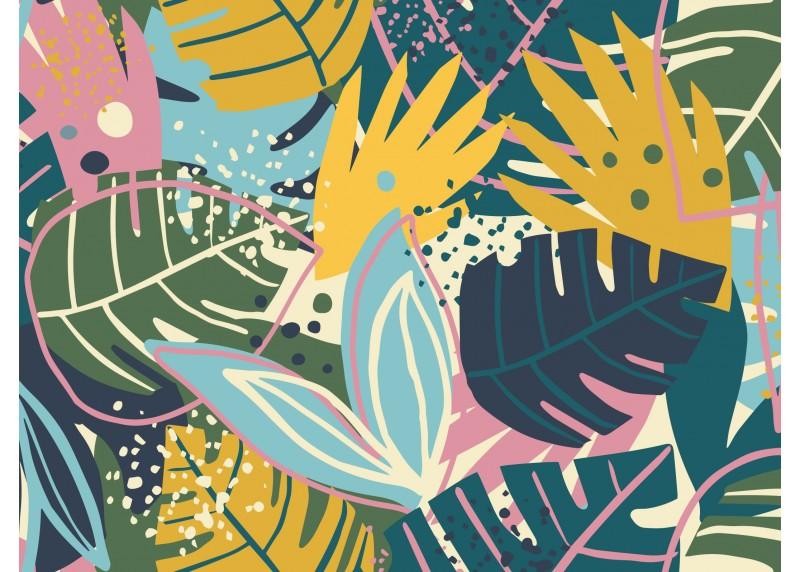 Barevné tropické listy, AG Design, fototapeta ekologická vliesová do obývacího pokoje, ložnice, jídelny, kuchyně, lepidlo součástí balení, 360x270