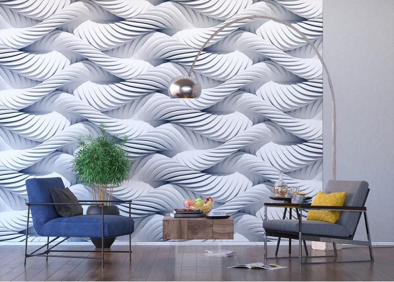 3D bílá pletená lana, AG Design, fototapeta ekologická vliesová do obývacího pokoje, ložnice, jídelny, kuchyně, lepidlo součástí balení, 360x270