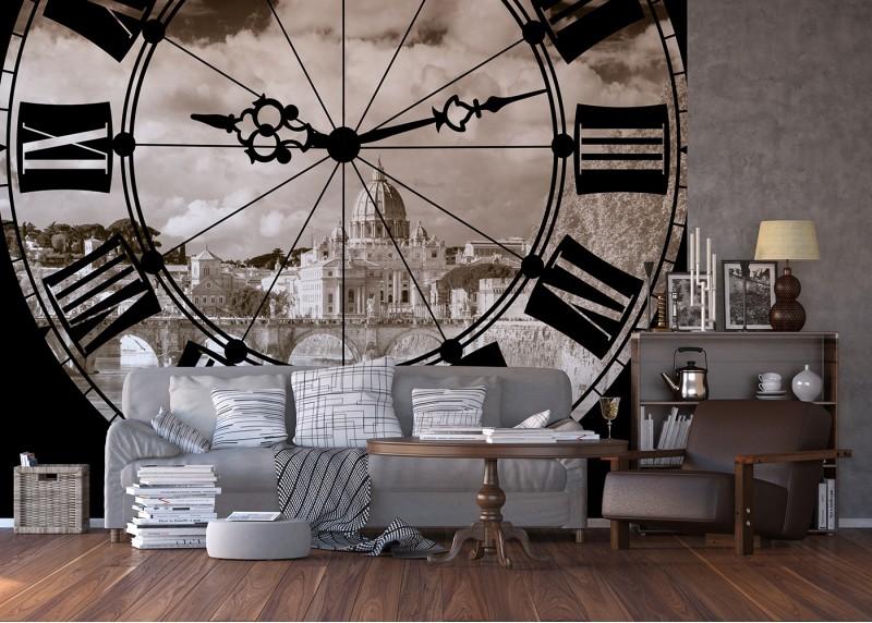 Hodiny, AG Design, fototapeta ekologická vliesová do obývacího pokoje, ložnice, jídelny, kuchyně, lepidlo součástí balení, 360x270