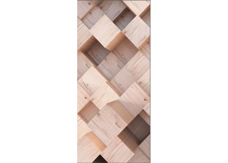 3D abstrakce dřevěné kostky, AG Design, fototapeta ekologická vliesová do obývacího pokoje, ložnice, jídelny, kuchyně, lepidlo součástí balení, 90x202