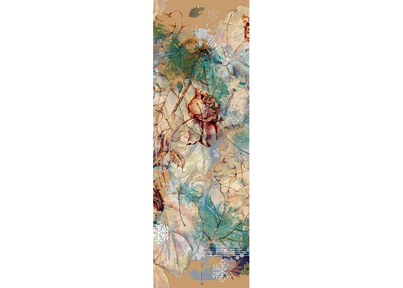 Abstrakce růže a listí, AG Design, fototapeta ekologická vliesová do obývacího pokoje, ložnice, jídelny, kuchyně, lepidlo součástí balení, 90x270