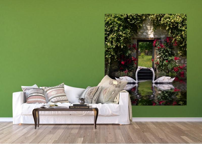 Labutě, AG Design, fototapeta ekologická vliesová do obývacího pokoje, ložnice, jídelny, kuchyně, lepidlo součástí balení, 180x202