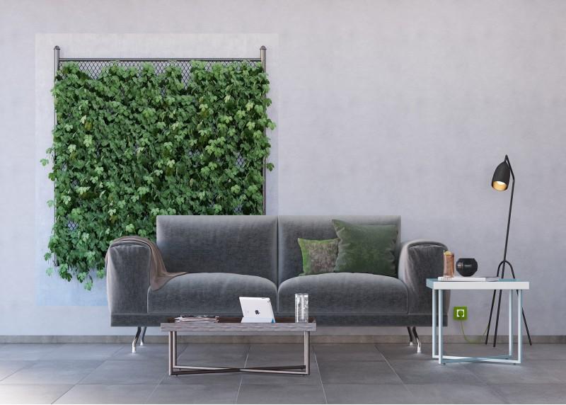 Zeleň na betonu, vliesová fototapeta do obývacího pokoje, ložnice, jídelny, kuchyně či chaty, AG Design, 180 x 202 cm, FTN XXL 2542