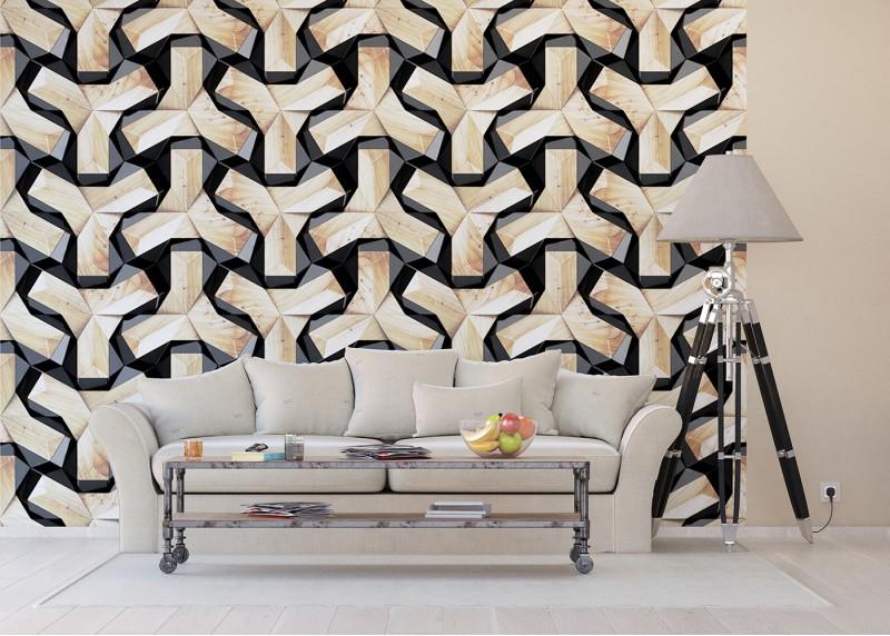 Dřevěná abstrakce, AG Design, fototapeta ekologická vliesová do obývacího pokoje, ložnice, jídelny, kuchyně, lepidlo součástí balení, 360x270