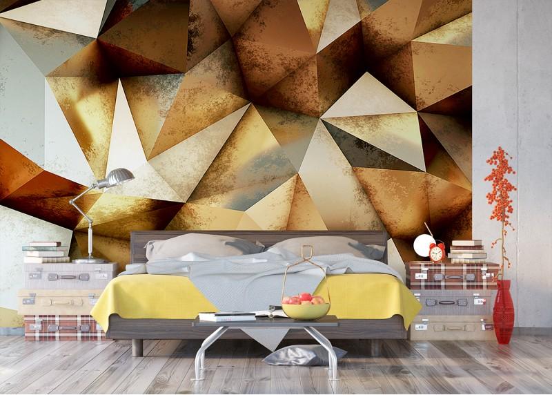 3D trojúhelníky, AG Design, fototapeta ekologická vliesová do obývacího pokoje, ložnice, jídelny, kuchyně, lepidlo součástí balení, 360x270