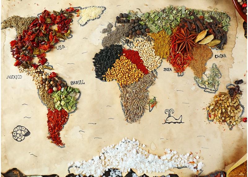 Mapa světa z koření, AG Design, fototapeta ekologická vliesová do obývacího pokoje, ložnice, jídelny, kuchyně, lepidlo součástí balení, 360x270