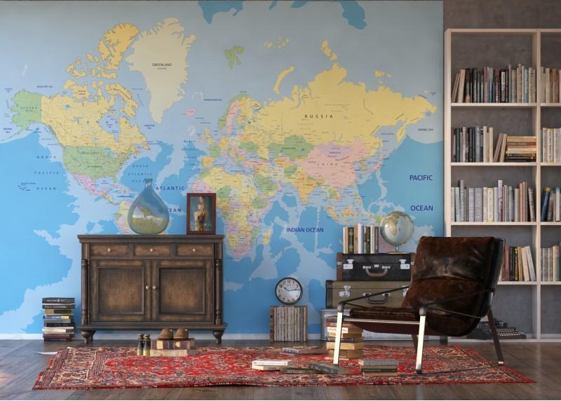 Mapa světa, AG Design, fototapeta ekologická vliesová do obývacího pokoje, ložnice, jídelny, kuchyně, lepidlo součástí balení, 360x270