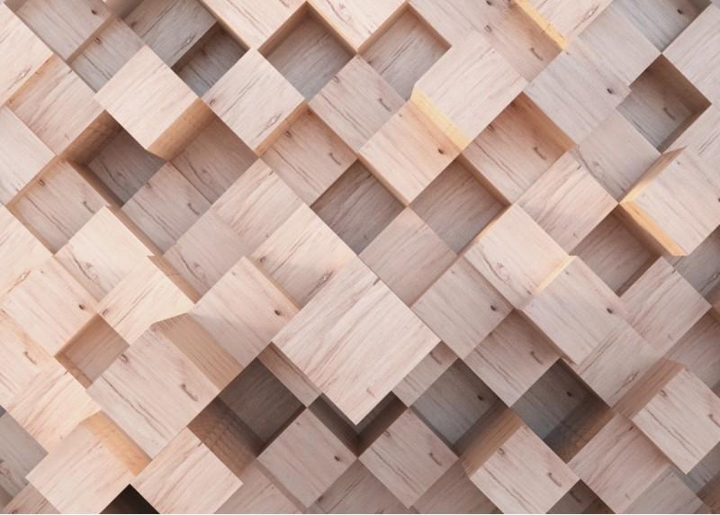 3D abstrakce dřevěné kostky, AG Design, fototapeta ekologická vliesová do obývacího pokoje, ložnice, jídelny, kuchyně, lepidlo součástí balení, 360x270