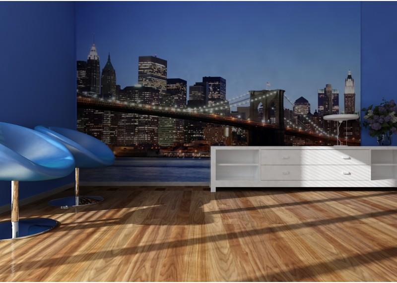 Brooklynský most při západu slunce, papírová fototapeta do obývacího pokoje, ložnice, jídelny, kuchyně či chaty, AG Design, 360 x 254 cm, FTS 0107