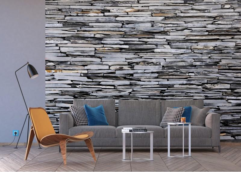 Břidlicový kámen, papírová fototapeta do obývacího pokoje, ložnice, jídelny, kuchyně či chaty, AG Design, 360 x 254 cm, FTS 1313