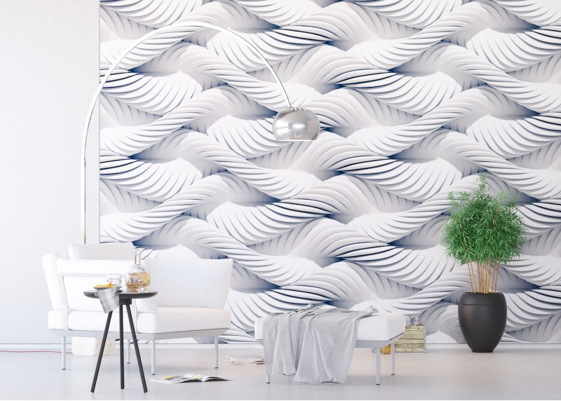 3D bílá pletená lana, AG Design, fototapeta do obývacího pokoje, ložnice, jídelny, kuchyně, lepidlo součástí balení, 360x254