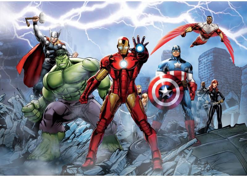 Avengers v boji proti nepřátelům, Marvel, AG Design, fototapeta do dětského pokoje, lepidlo součástí balení, 252x182