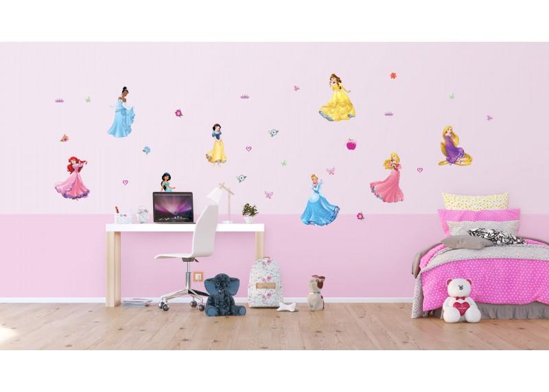 Samolepka na zeď dětská,  AG Design, DK 1722, Disney, Princezny, 8 krásek, 65x85 cm