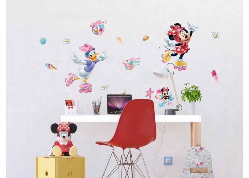 Samolepka na zeď dětská,  AG Design, DK 1724, Disney, Minnie Mouse, Minnie a Daisy na kolečkových bruslích, 65x85 cm