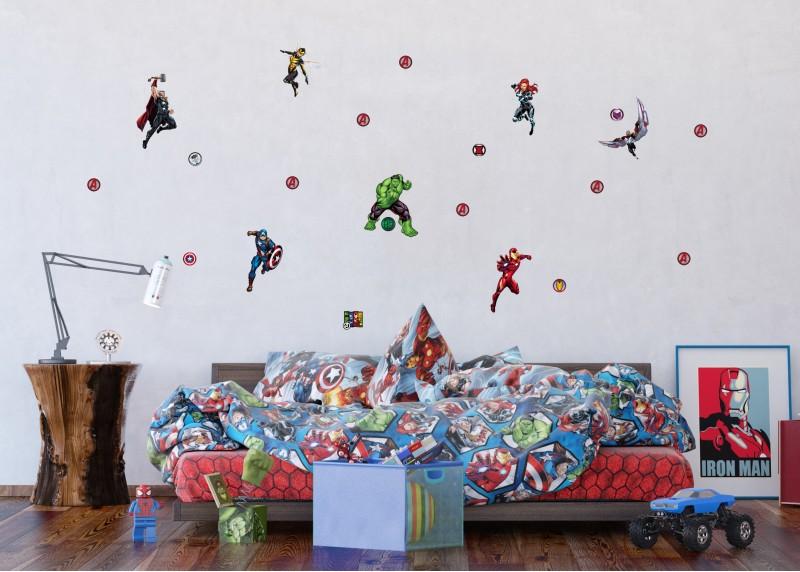 Avengers, Marvel, dekorační nálepky na stěny, nábytek a interiérové předměty v dětském pokoji, AG Design, 42,5 x 65 cm, DK 1739