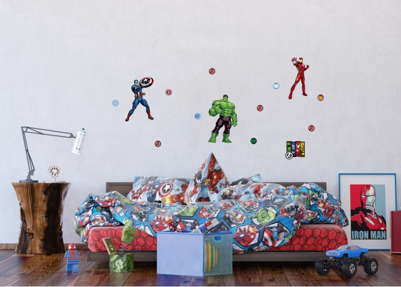 Avengers, Marvel, dekorační nálepky na stěny, nábytek a interiérové předměty v dětském pokoji, AG Design, 42,5 x 65 cm, DK 1740