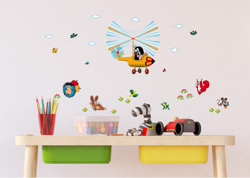 Little Mole, dekorační nálepky na stěny, nábytek a interiérové předměty v dětském pokoji, AG Design, 30 x 30 cm, DKS 3800