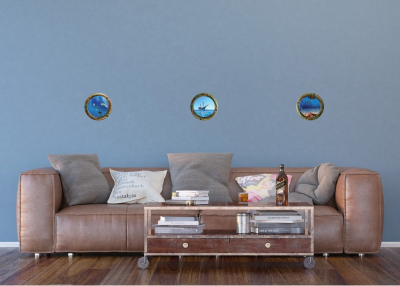 Samolepka na zeď,  AG Design, SM 3435,  Pohled na moře, 42,5x65 cm