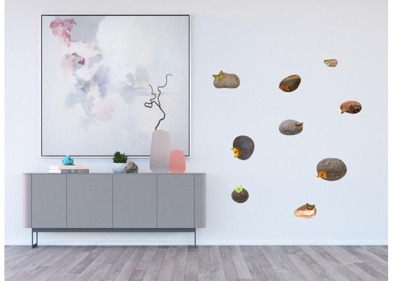Samolepka na zeď,  AG Design, SM 3436, Kameny s motýly, 42,5x65 cm