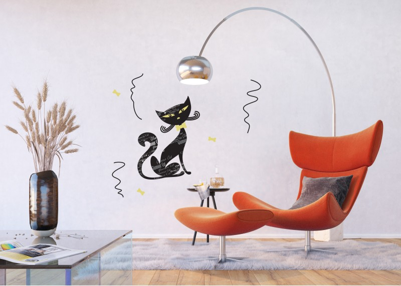 Samolepka na zeď,  AG Design, SM 3439, Černá kočka, 42,5x65 cm