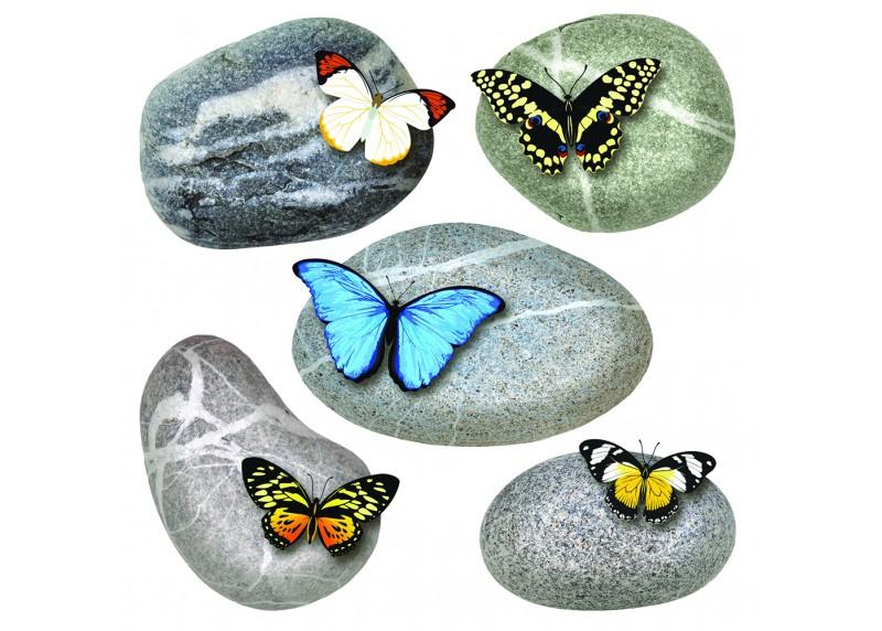 Samolepka na zeď,  AG Design, SS 3853, Motýly na kamenech, 30x30 cm