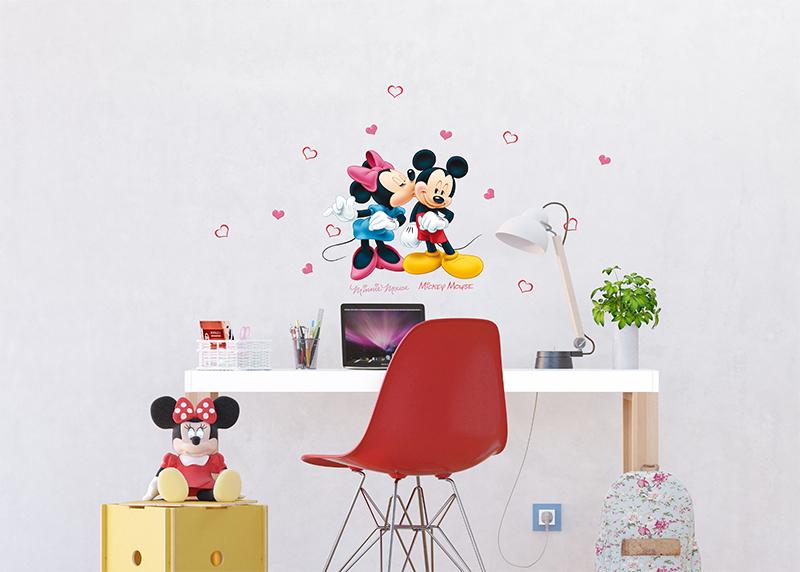 Minnie a Mickey Mouse spolu Disney, dekorační nálepky na stěny, nábytek a interiérové předměty v dětském pokoji, 30 x 30 cm, 1085 DKS