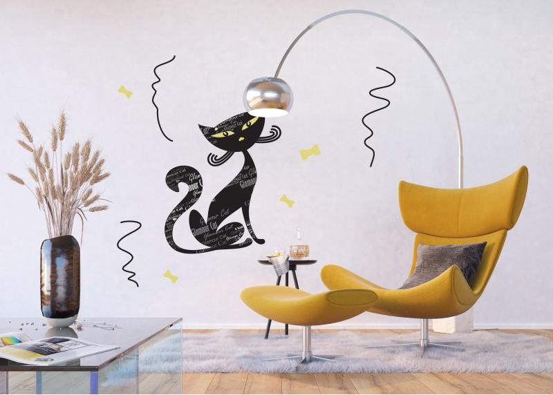 Samolepka na zeď,  AG Design, E 0421, Okouzlující kocour s popisy, 65x85 cm
