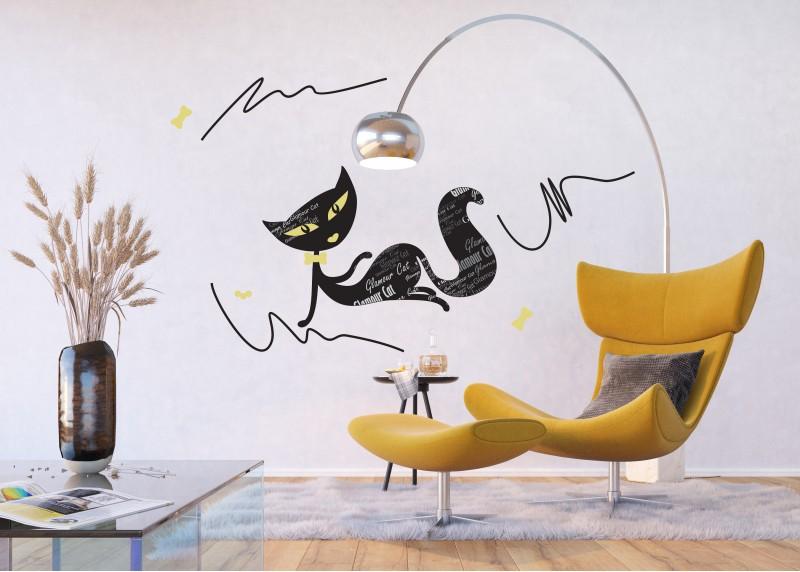 Samolepka na zeď,  AG Design, E 0422, Okouzlující kočka s popisy, 65x85 cm