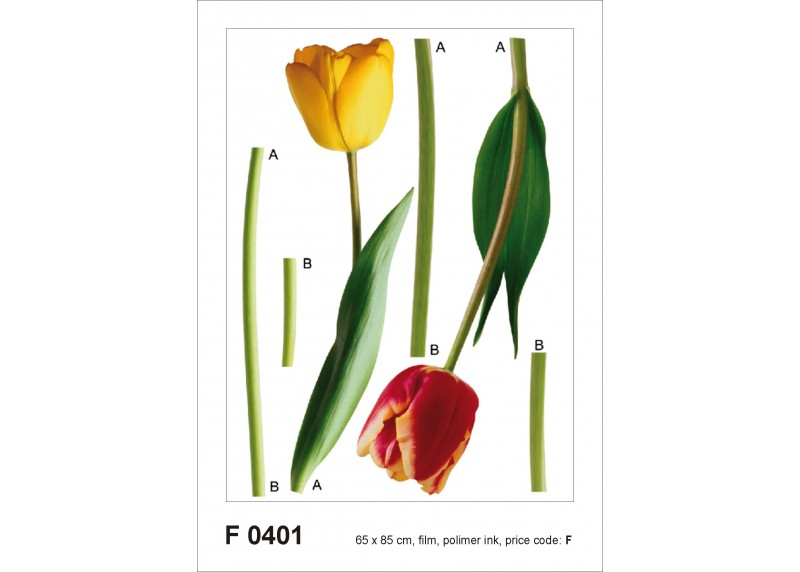 Samolepka na zeď,  AG Design, F 0401, Tulipány, 65x85 cm