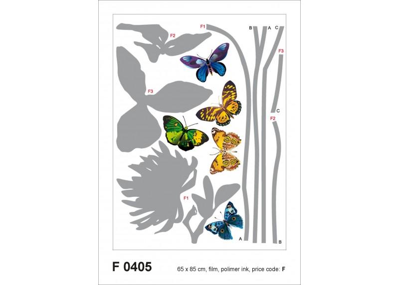Samolepka na zeď,  AG Design, F 0405, Motýly na šedých květinách, 65x85 cm