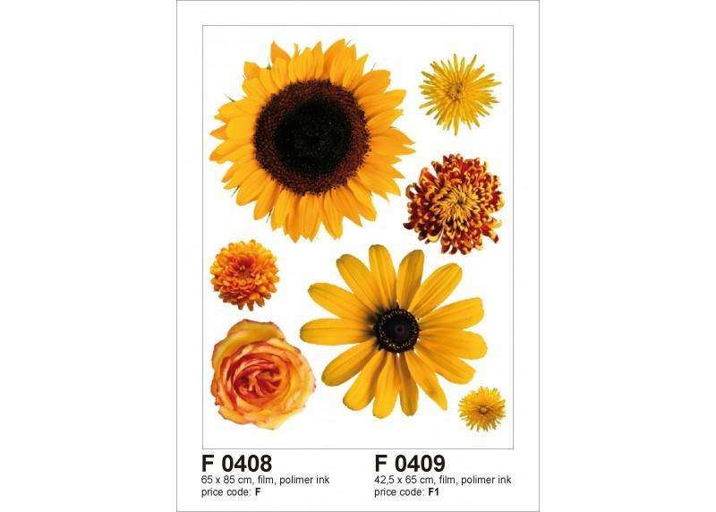 Samolepka na zeď,  AG Design, F 0408, Žluté květy a slunečnice, 65x85 cm