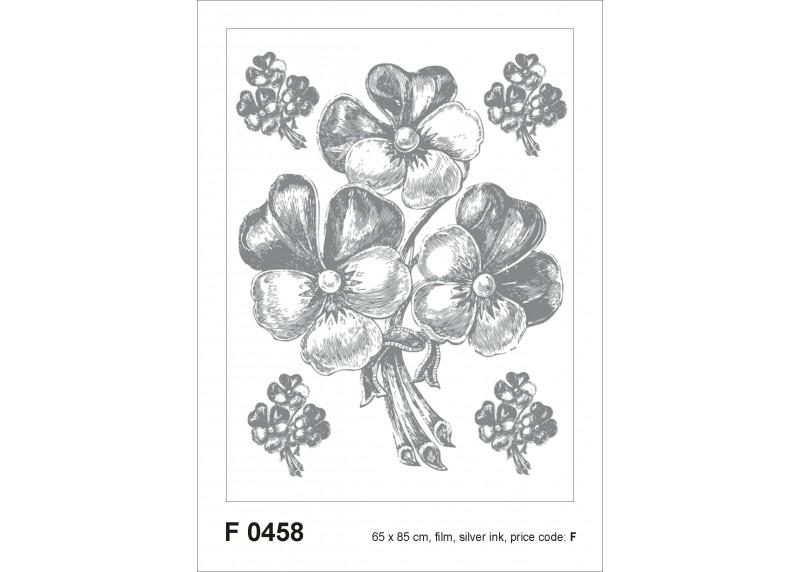 Samolepka na zeď,  AG Design, F 0458, Stříbrná kytice, 65x85 cm