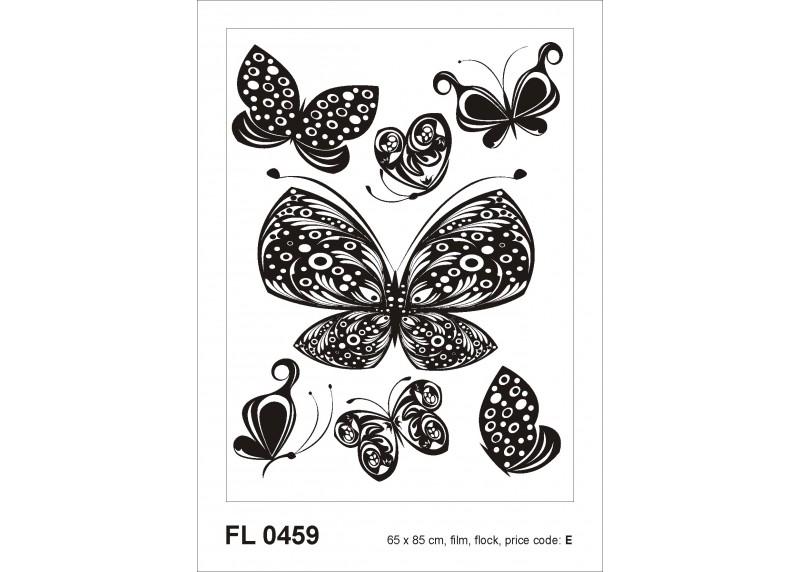 Samolepka na zeď,  AG Design, F 0459, Černé kreslené motýly, 65x85 cm