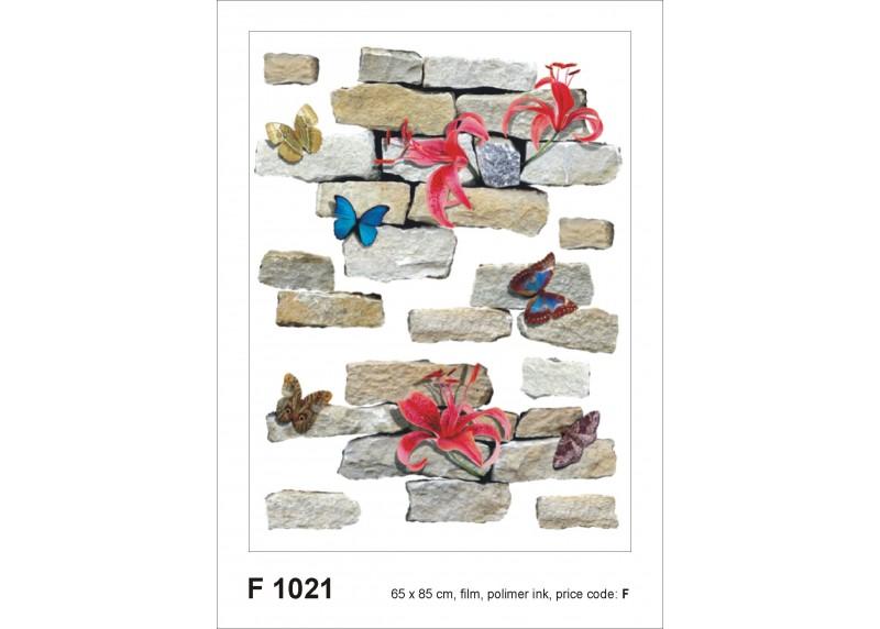 Samolepka na zeď,  AG Design, F 1021, Cihle a květiny, 65x85 cm