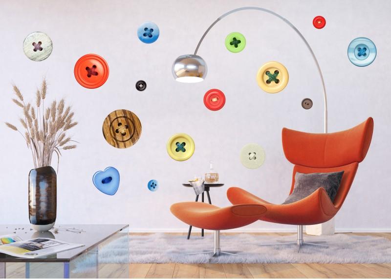 Samolepka na zeď,  AG Design, F 1027, Barevné knoflíky, 65x85 cm