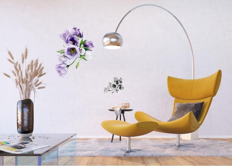 Samolepka na zeď,  AG Design, F 1029, Fialové květy, 65x85 cm