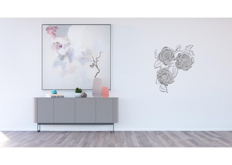 Samolepka na zeď,  AG Design, FL 1034, Malované černo-bílé růže, 65x85 cm