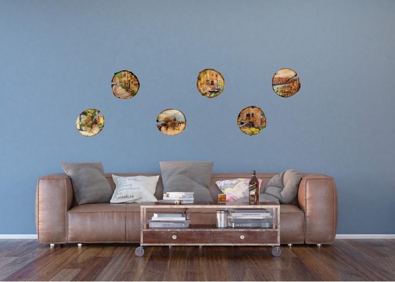 Samolepka na zeď,  AG Design, F 1067, Kolekce obrazů měst, vyplněných na dřevě, 65x85 cm