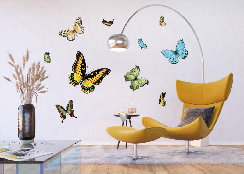 Samolepka na zeď,  AG Design, F 1069, Variace barevných motýlů, 65x85 cm