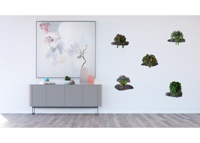 Samolepka na zeď,  AG Design, F 1070, Květiny na kamenech, 65x85 cm