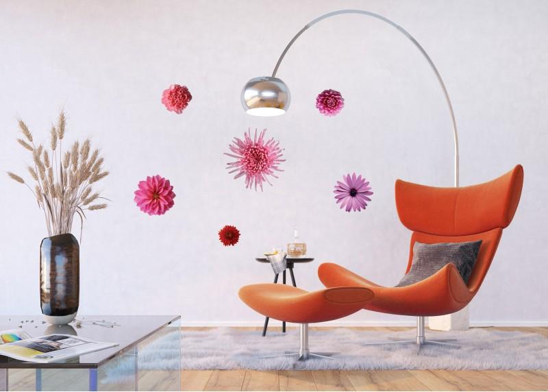 Samolepka na zeď,  AG Design, F 0406, Růžové květy, 65x85 cm