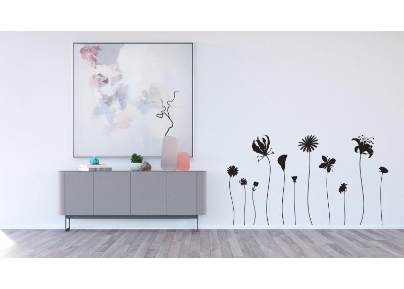 Samolepka na zeď,  AG Design, F 0441, Květiny s vysokými stonky v černé barvě, 65x85 cm