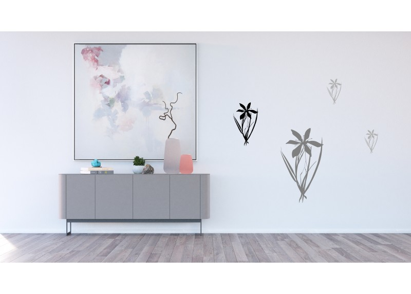 Samolepka na zeď,  AG Design, F 0443, Černé a šedé květiny, 65x85 cm