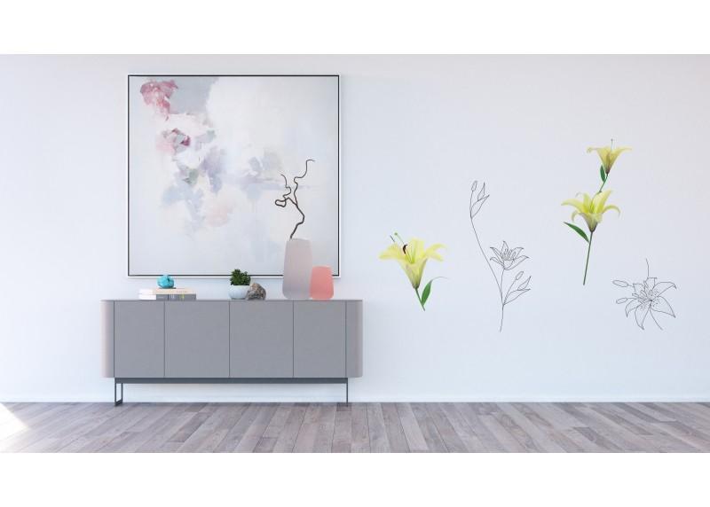 Samolepka na zeď,  AG Design, F 0446, Lilie, 65x85 cm