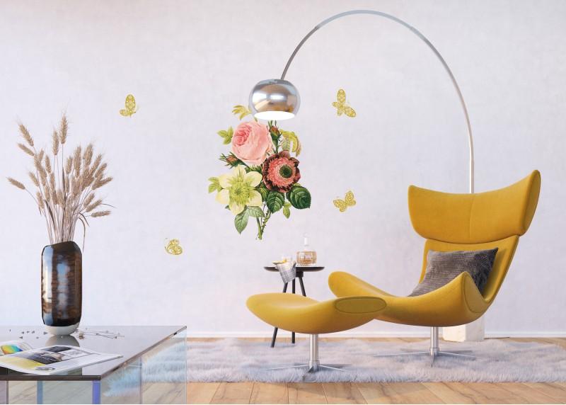 Samolepka na zeď,  AG Design, F 0456, Francouzská růže a zlaté motýly, 65x85 cm