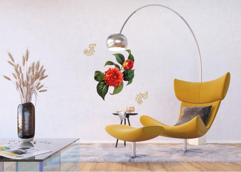 Samolepka na zeď,  AG Design, F 0457, Červené květy a zlaté elementy, 65x85 cm