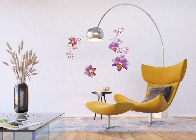 Samolepka na zeď,  AG Design, F 0466, Fialové orchideje, 65x85 cm