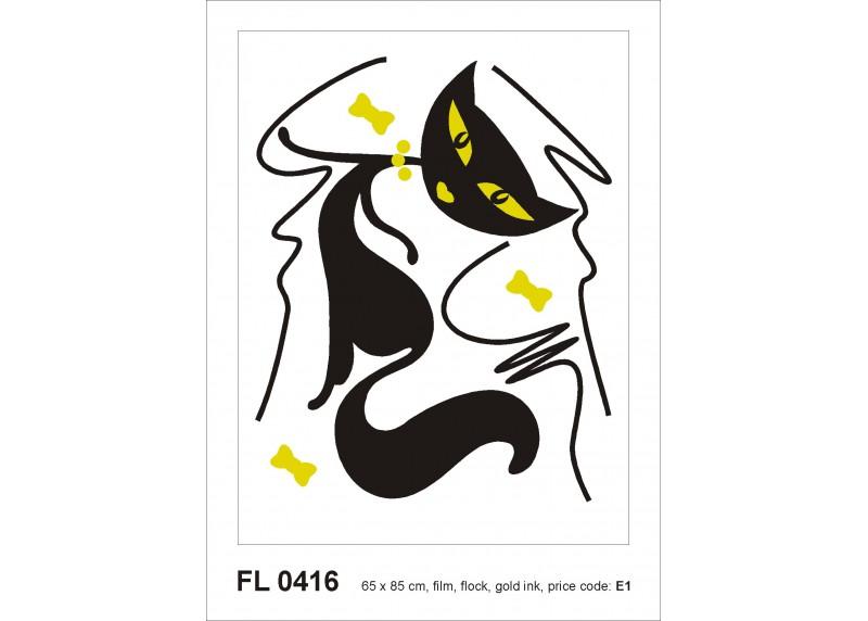 Samolepka na zeď,  AG Design, FL 0416, Okouzlující kočka, 65x85 cm
