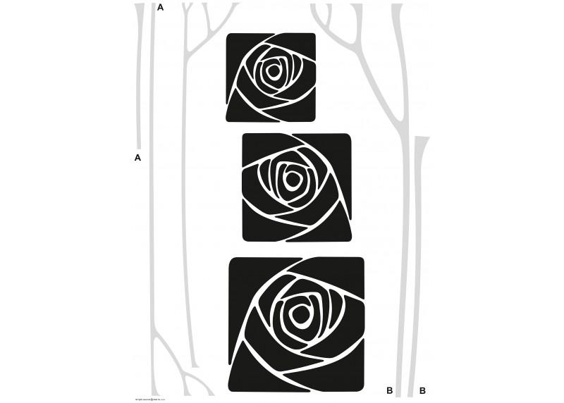 Samolepka na zeď,  AG Design, FL 0478, Černé abstraktní růže, 65x85 cm