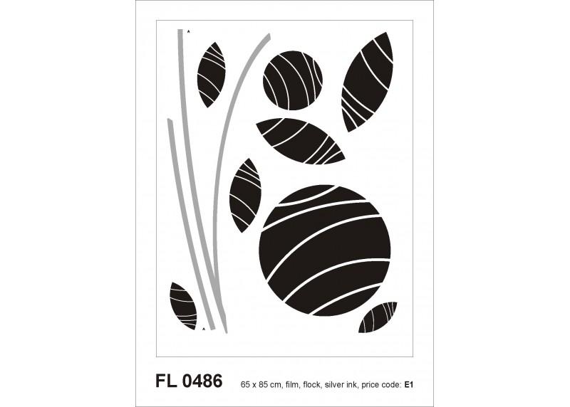 Samolepka na zeď,  AG Design, FL 0486, Černo-bílá abstrakce s květinami, 65x85 cm